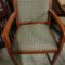 Side Chair, wood arm and frame, upholstered seat and back, blue beige check fabric