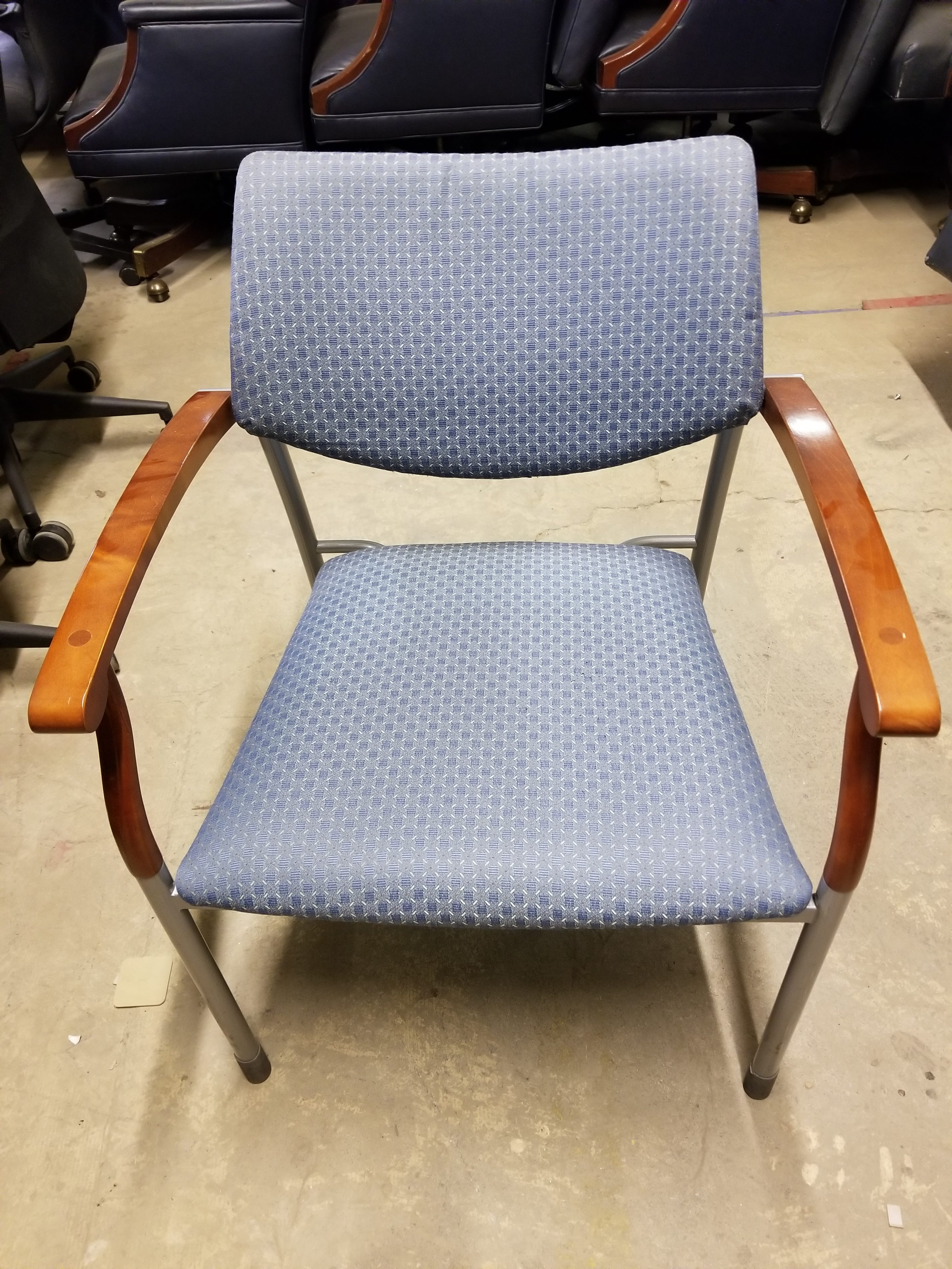 stack chair upholstered seat and back wood arm cap light blue