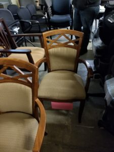Dining Chairs Wood Frame Upholstered Back With Arms