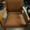 Side Chair, Wood frame and arm, upholstered back and seat, stripe rust fabric with cherry wood finish